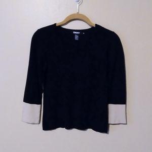 Black DKNY Top with Color Blocked Sleeves Medium